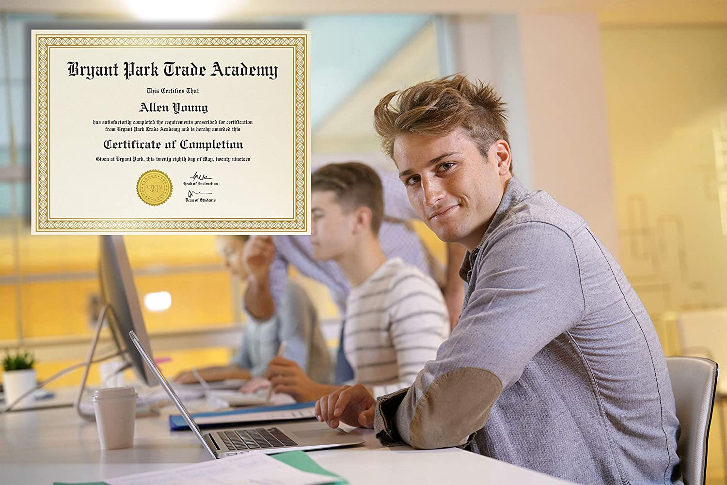 Diploma Certificate Paper Gold Foil Metallic Border by Better Office Products Ivory Letter Size Blank Paper 8.5 x 11 Inches 50 Sheet Award Certificate Paper Laser and Inkjet Printer Friendly