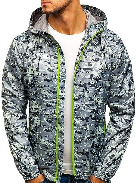 BOLF Herren Übergangsjacke mit Kapuze Reißverschluss Windjacke Regenjacke Outdoor Sportlicher Stil Motiv 4D4
