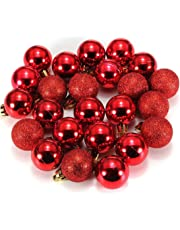a5af4b5eee2 Bola de adorno - SODIAL(R) 24 piezas XMAS bolas brillas elegantes de adorno