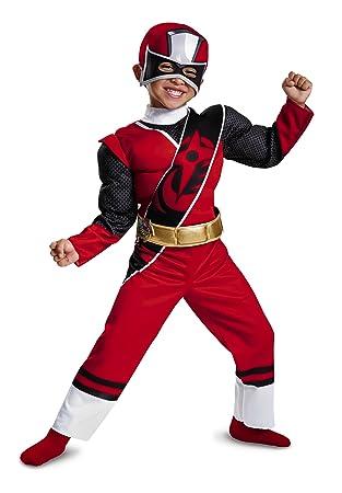 Power Rangers Ninja Steel Toddler Muscle Costume, Red, Medium (3T-4T)