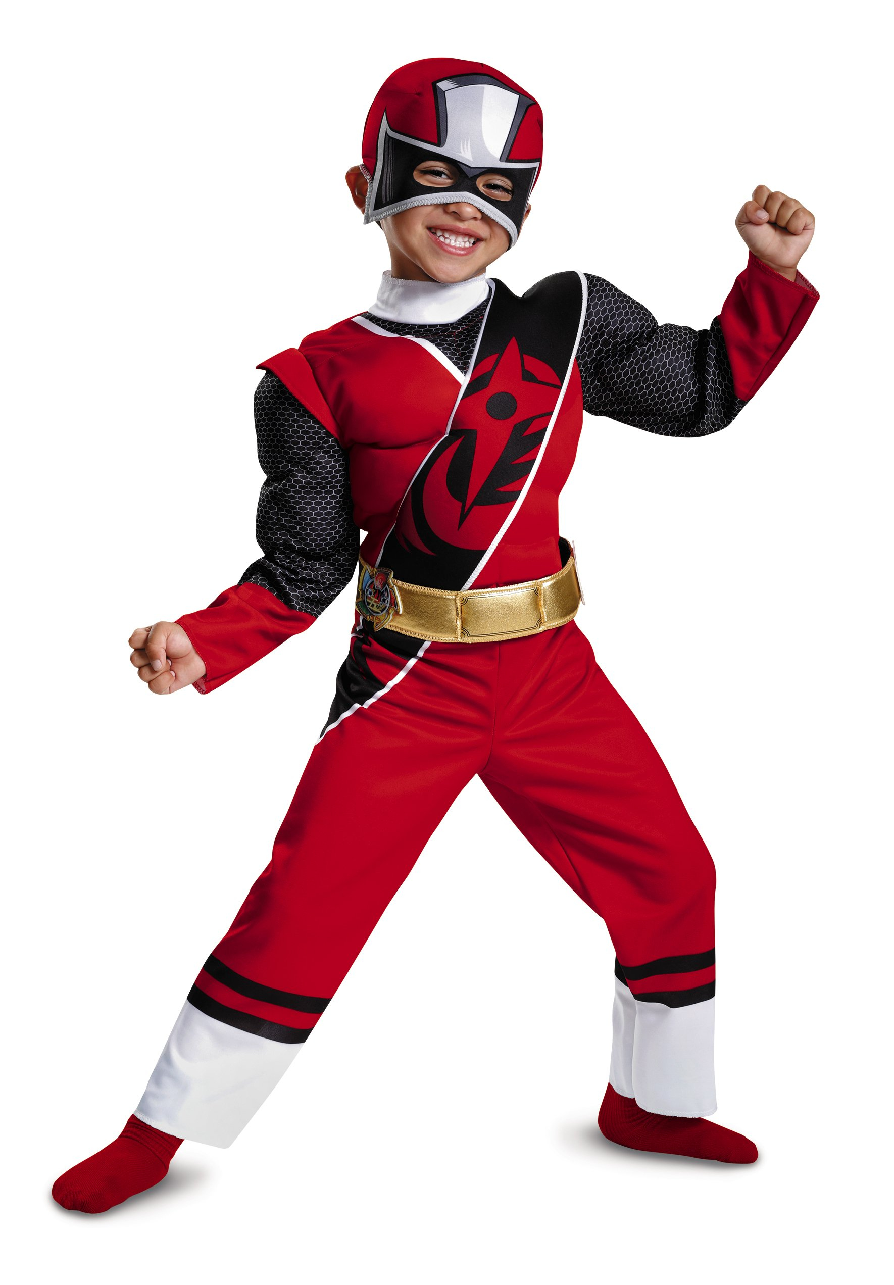 Disguise Power Rangers Ninja Steel Toddler Muscle Costume, Red, Large (4-6)