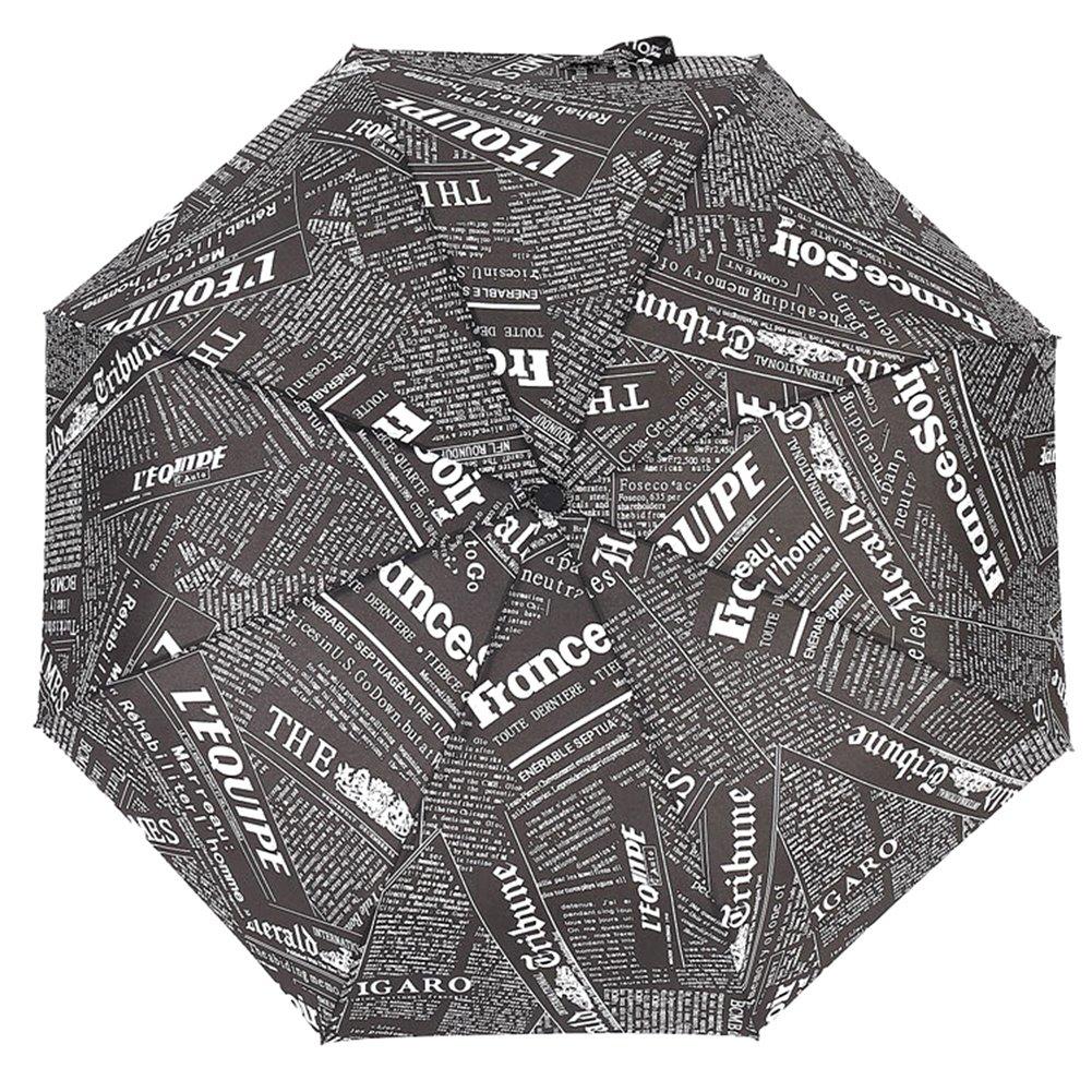 encoco Trval傘、three-foldingスタイル傘、独創性新聞傘、軽量傘  ブラック B07CFQLZFB