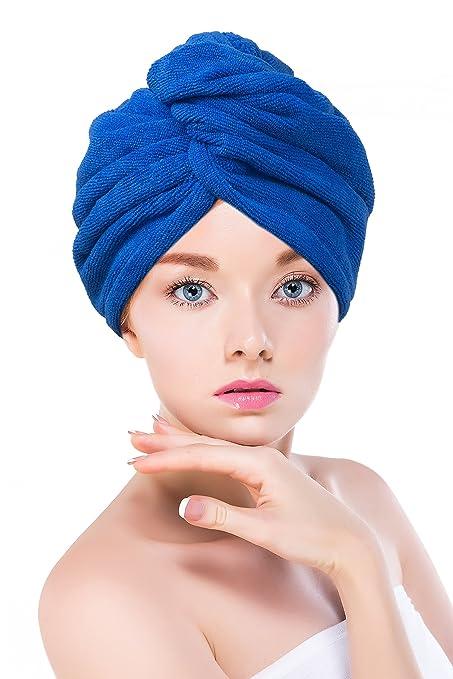 15 opinioni per Asciugamano turbante per capelli, in microfibra blu