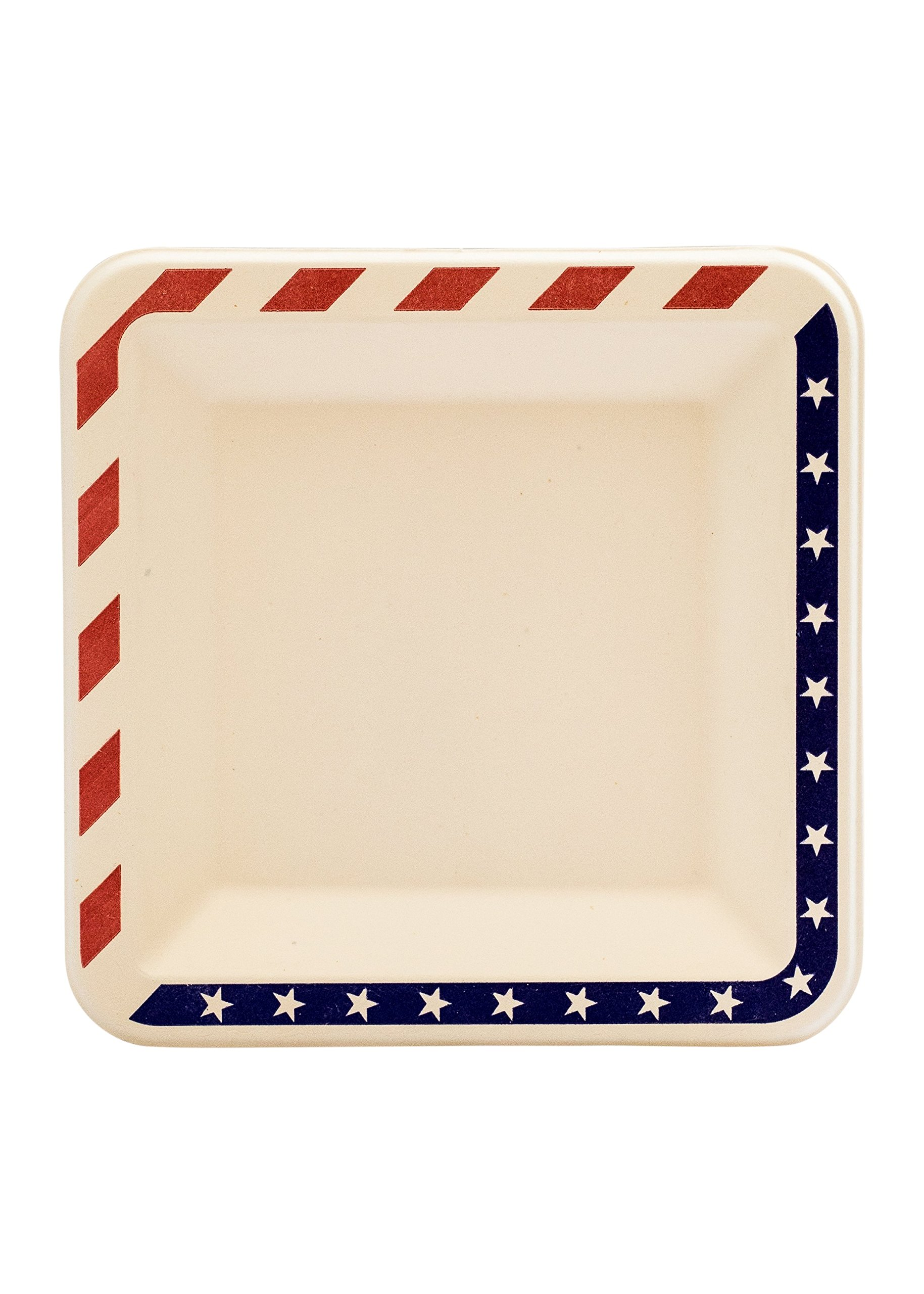 [100 COUNT] 6.5'' inches American Contemporary Bagasse Eco Disposable White Plates - Natural Sugarcane Fibers Compostable Environmental Friendly Paper Plastic Alternative 100% by-product (USA Flag)
