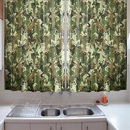 Amazon.com: oFloral Kitchen Curtains Green Frog Skull Frog ...