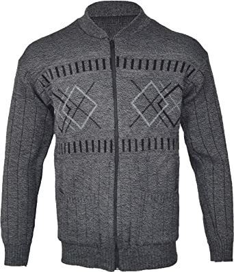 New Classic Mens Grandad Zipper Cardigan Sweater Two Front Pockets S M L XL Zip