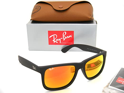 c9f851cc579 Authentic Ray-Ban Youngster Justin RB 4165 622 6Q 55mm Black   Orange  Mirror In Box  Amazon.co.uk  Clothing