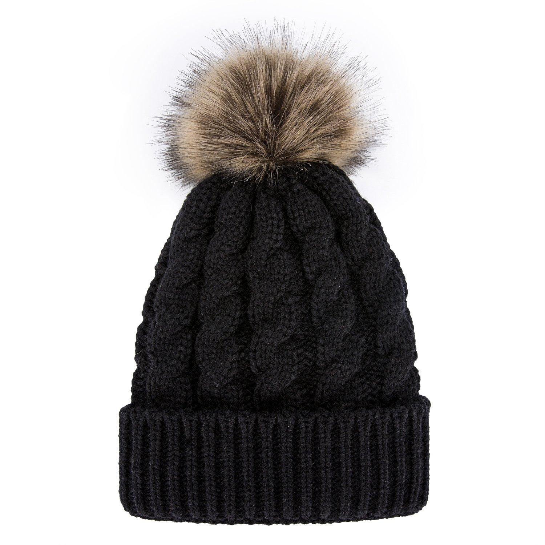 974d1e7dff3 GRAMONI Men   Women s Winter Hand Knit Faux Fur Pompoms Beanie Hat (Black)  at Amazon Women s Clothing store