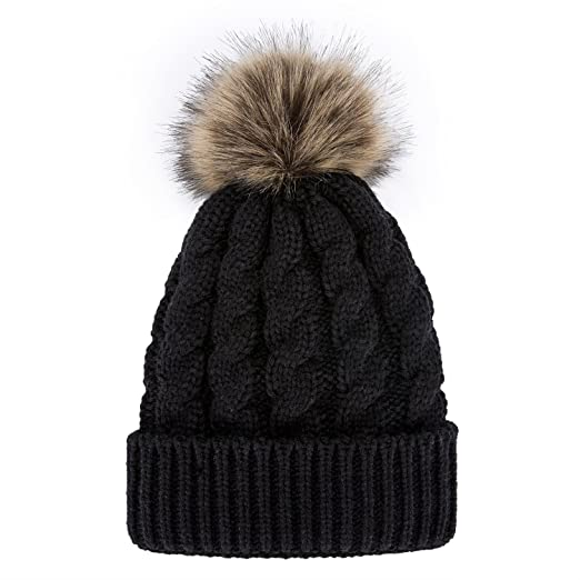 f8aee78e5f8 GRAMONI Men   Women s Winter Hand Knit Faux Fur Pompoms Beanie Hat (Black)