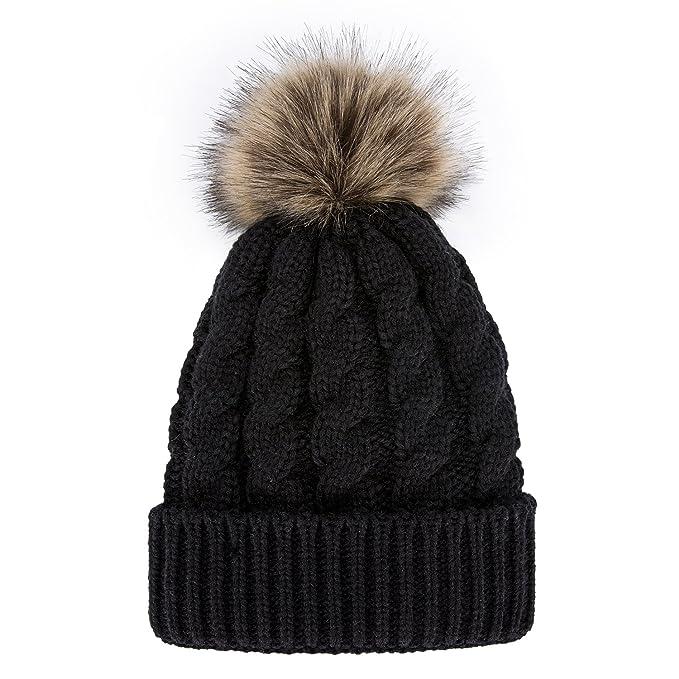 GRAMONI Men   Women s Winter Hand Knit Faux Fur Pompoms Beanie Hat (Black) c5fd0c110