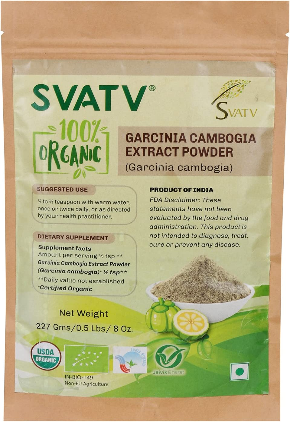 Amazon.com: SVATV Organic Garcinia cambogia 1/2 LB, 08 oz, 227g USDA  Certified Organic- Biodegradable Resealable Zip Lock Pouch: Health &  Personal Care