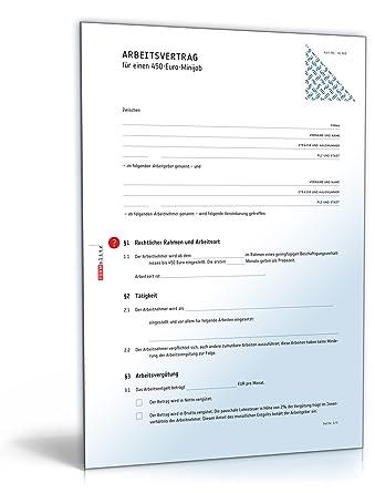 Arbeitsvertrag Minijob Pdf Vertrag Für 450 Euro Minijob