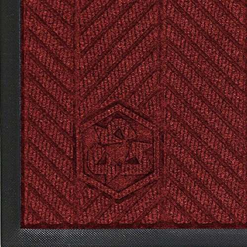 M A Matting 2295 WaterHog Eco Premier Polyester Fiber Entrance Indoor Outdoor Floor Mat, SBR Rubber Backing, 6 Length x 6 Width, 3 8 Thick, Maroon
