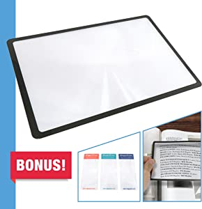 MagniPros Premium 3X (300%) Page Magnifying Lens with 3 Bonus Bookmark Magnifiers for Reading Small Prints, Low Vision Aids & Solar Projects