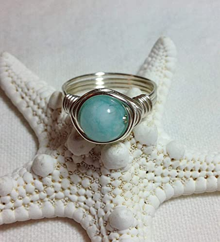 Mianyang Aquamarine Wire Wrapped Ring