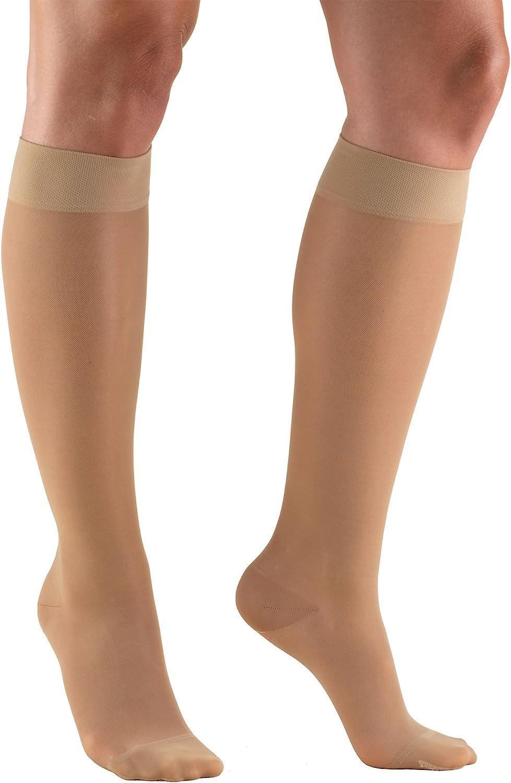 Truform Sheer Compression Stockings, 15-20 mmHg, Women's Knee High Length, 20 Denier, Light Beige, Medium (1773LB-M)