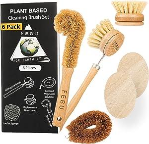 FEBU Zero Waste Bamboo Dish Brush Set | 6 Piece Vegetable Scrubber and Dishwashing Sponge Kit | Includes Dish Brush with Handle and Loofah Sponge | No Odor, Biodegradable and Reusable Sponges