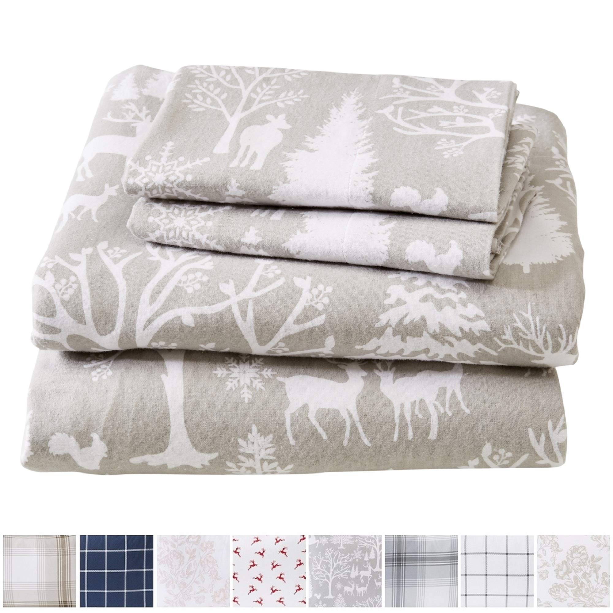 Great Bay Home Extra Soft Enchated Woods 100% Turkish Cotton Flannel Sheet Set. Warm, Cozy, Lightweight, Luxury Winter Bed Sheets. Belle Collection (King, Enchanted Woods) by Great Bay Home (Image #1)