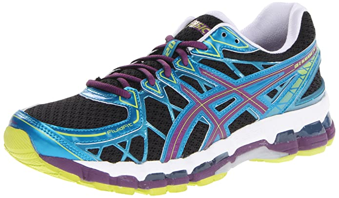 asics womens gel kayano 20 black/plum/blue