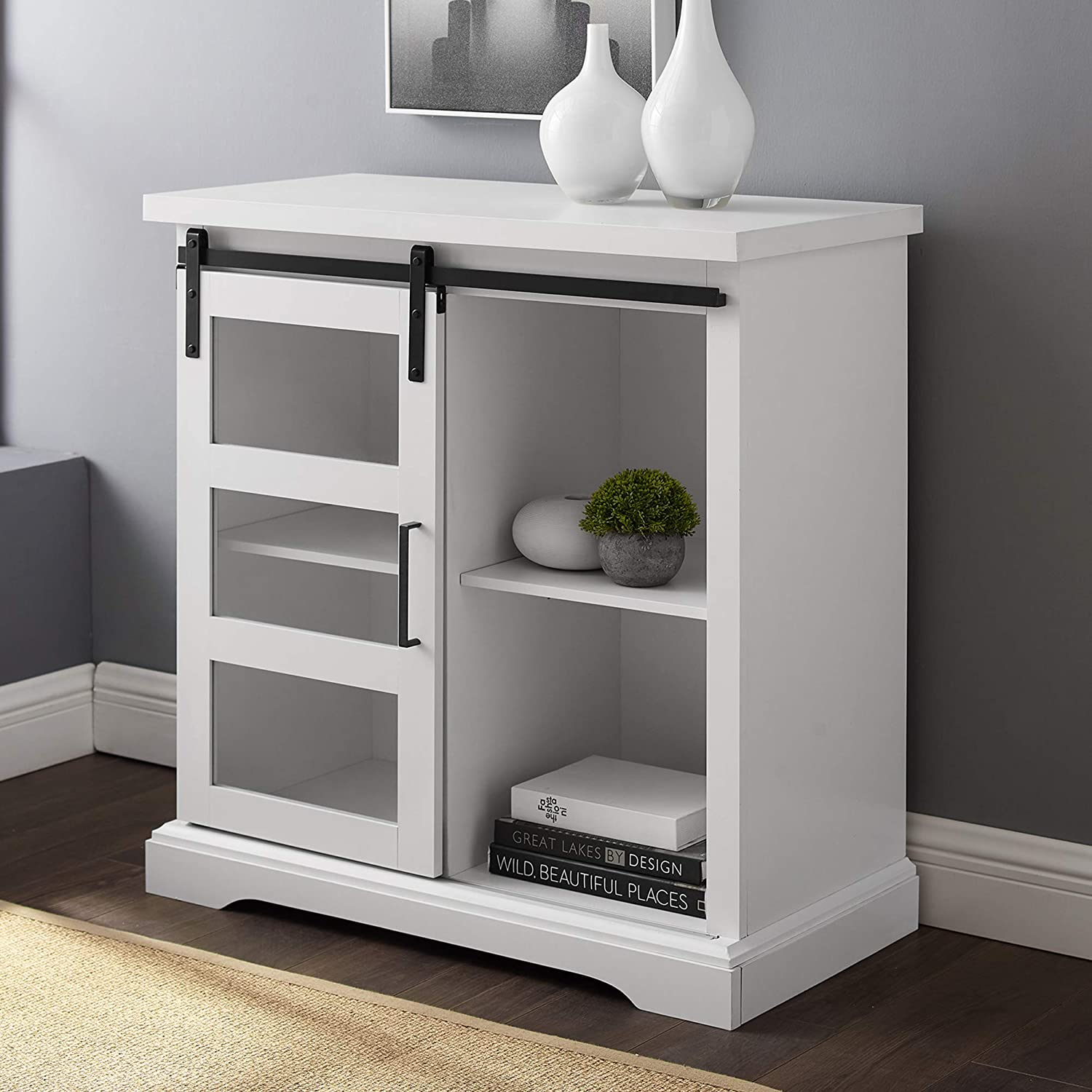 WE Furniture Modern Farmhouse Buffet Entryway Bar Cabinet Storage Entry Table Living Room, 32 Inch, White