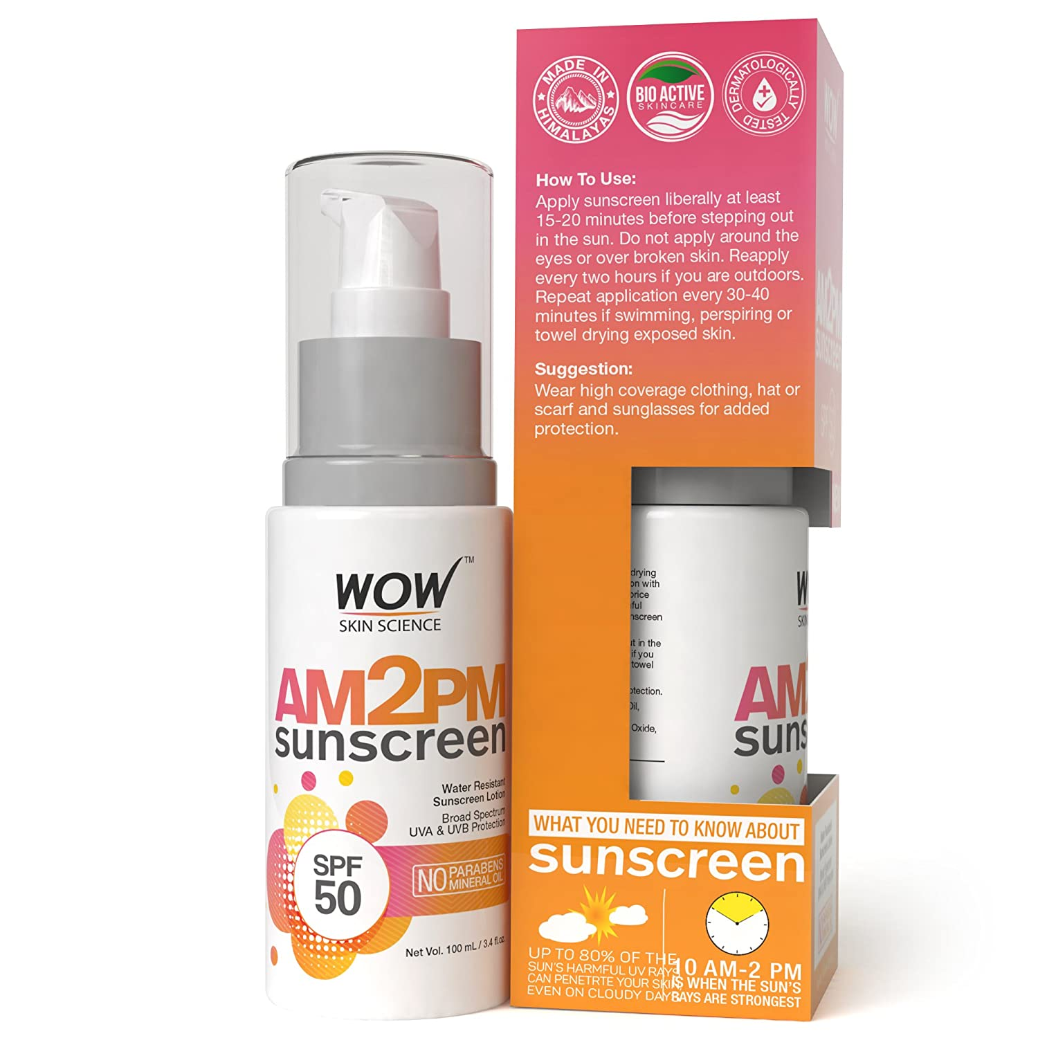 a28d2d71db WOW AM2PM SPF50 Water Resistant No Parabens   Mineral Oil Sunscreen Lotion