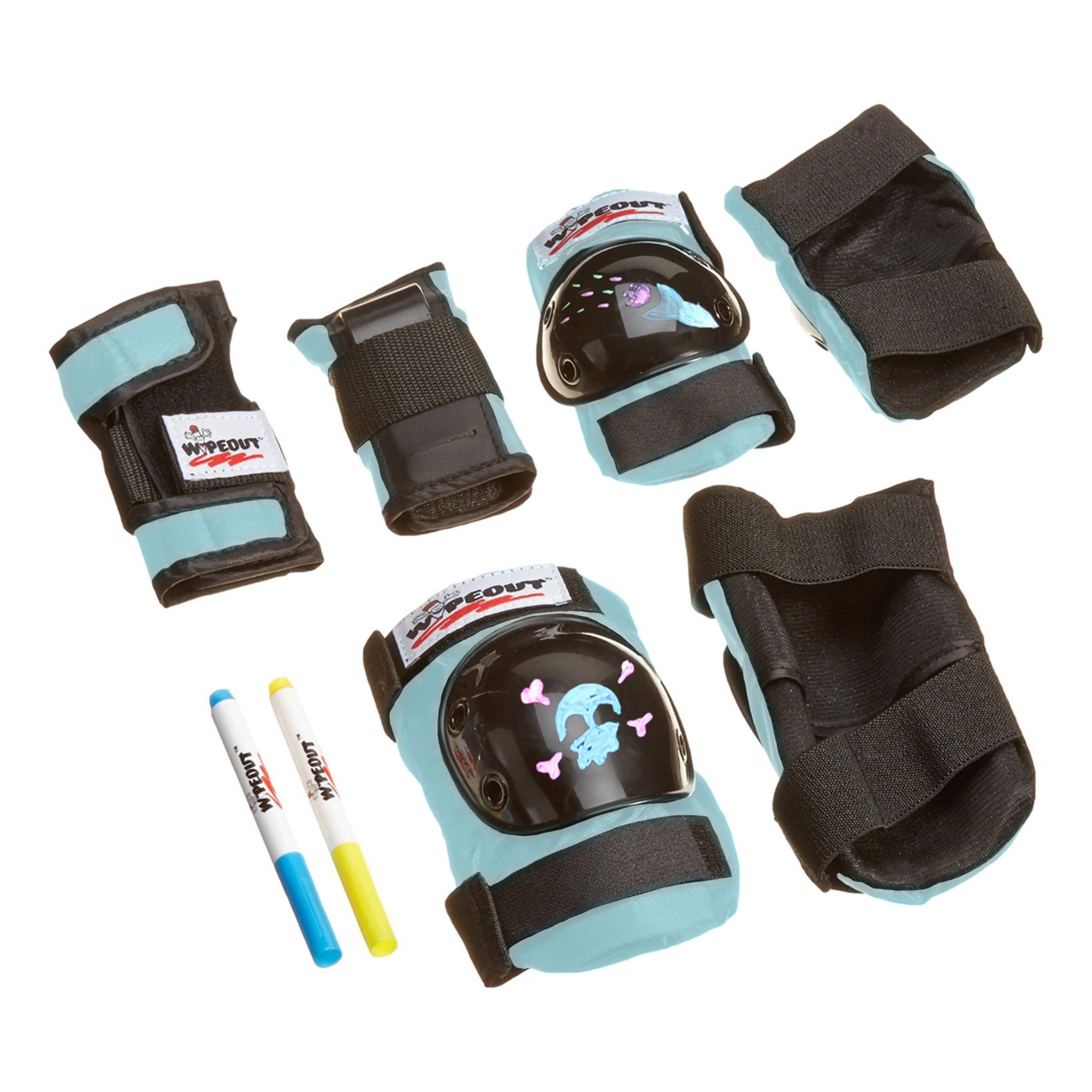 Wipeout Dry Erase Kids' Pad Set with Knee Pads, Elbow Pads, and Wristguards, Teal Blue