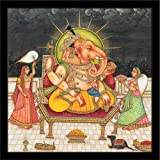 Pitaara Box God Lakshmi Ganapati - SMALL Size 12inch x 12inch (30.5cms x 30.5cms) including 0.5 inch wide frame - SPECIAL EFFECTS Poster Painting with BLACK COLOUR FRAME: Digital Print Art Panel: Wall Décor Photo for Bedroom, Living Room, Dining Room, Kitchen, Office, Bathroom, Hotels & Reception : Religious : Fine Art Reprint