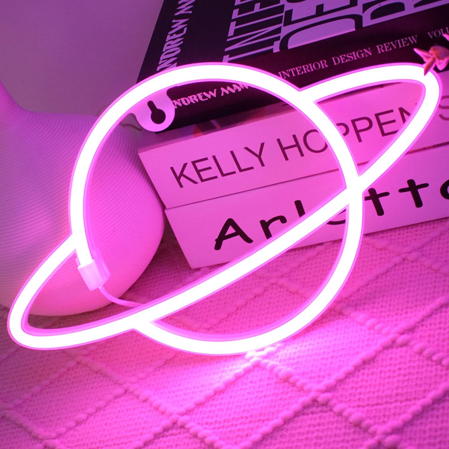 LED Planet Neon Signs Light Pink Led Wall Decor, Battery or USB Operated Planet Lamp Planet Neon Signs Light up for Home,Kids Room,Bar,Festive Party,Christmas,Wedding(Pink)