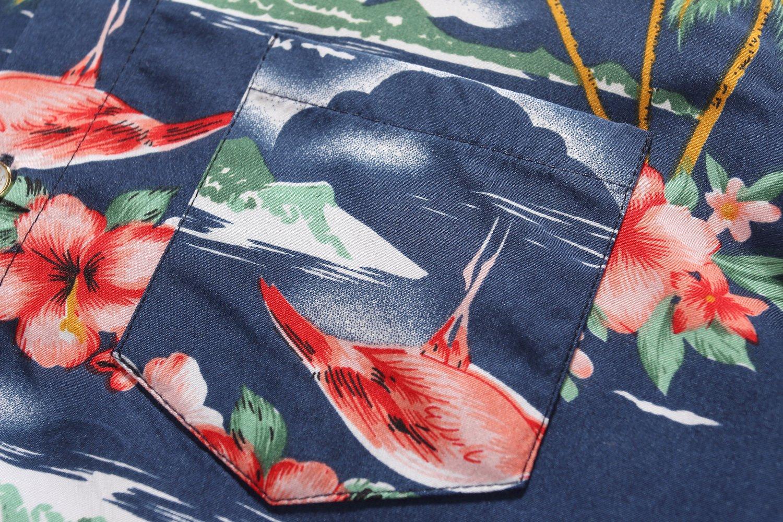 SSLR Big Boy's Flamingos Button Down Short Sleeve Aloha Hawaiian Shirt (Large(14-16), Dark Blue) by SSLR (Image #5)