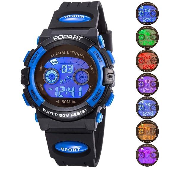 95ed89863050 Reloj infantil para niño niño niña LED multifunción deportes al aire libre  vestido digital impermeable alarma azul  Amazon.es  Relojes