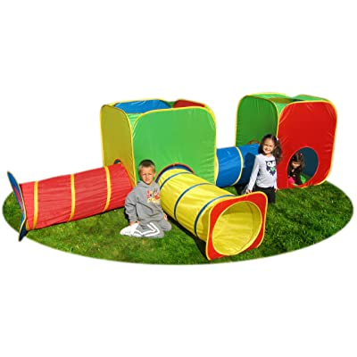 GigaTent Pop Up Kid's Play Tent - Large Play Cube Tunnel Set - Bright and Colorful Design, Mesh Curtains, Easy Instant Assembly, Folds Flat - Includes Storage Bag: Toys & Games