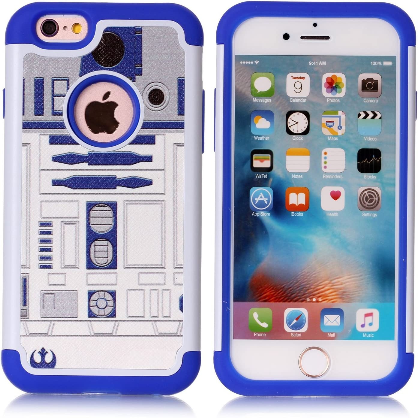Iphone 6S Case,Iphone 6 Case - R2D2 Astromech Droid Robot Pattern Shock-Absorption Hard PC and Inner Silicone Hybrid Dual Layer Armor Defender Protective Case Cover for Apple iphone 6 iphone 6S