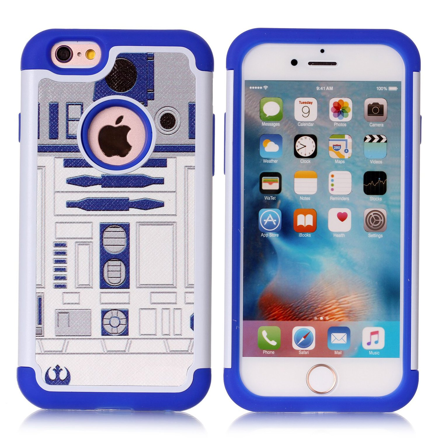 iPhone 6S Case,iPhone 6 Case - R2D2 Astromech Droid Robot Pattern  Shock-Absorption Hard PC and Inner Silicone Hybrid Dual Layer Armor  Defender