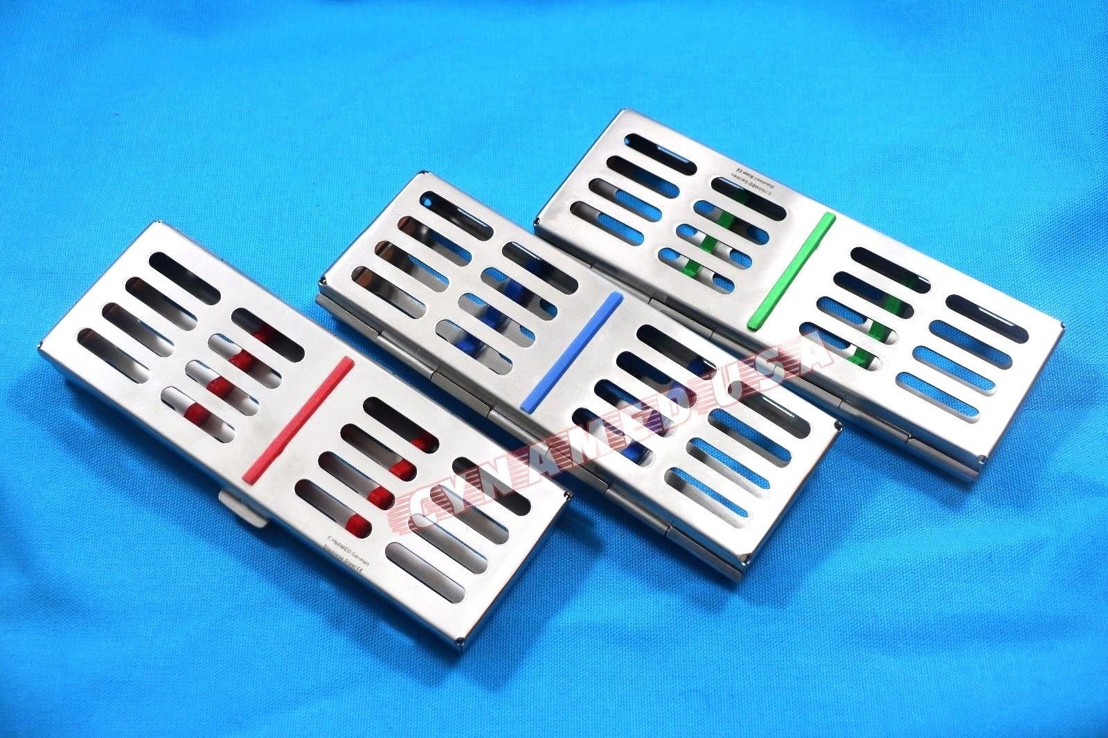 NEW SET OF 3 GERMAN STAINLESS DENTAL AUTOCLAVE STERILIZATION CASSETTE RACK BOX TRAY FOR 5 INSTRUMENT ( SET OF 3 COLORED )