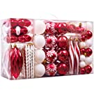Valery Madelyn 100Pcs 3-16cm Dear Santa Red and White Christmas Bauble Ornaments, Shatterproof Christmas Tree Balls Pendants Decorations
