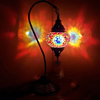 Turkish / Moroccan Lamp Glass Desk Table Lamp With UK Plug And Switch   MC11