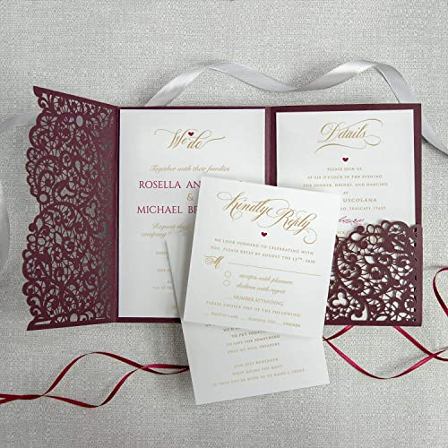 Wedding Invitations With Envelopes Laser Cut Cards Tri Fold