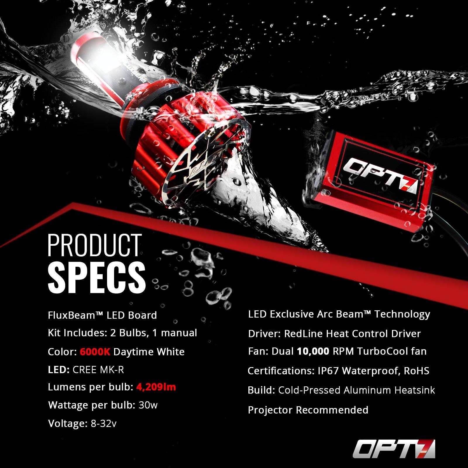 OPT7 Fluxbeam X 9007 LED Headlight Bulbs w/Arc-Beam Lens - 8,400LM 6000K Daytime White - All Bulb Sizes - 80w - 2 Year Warranty by OPT7 (Image #8)