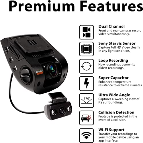 Rexing V1P 2.4 LCD FHD 1080p 170 Degree Wide Angle Dual Channel Wi-Fi Dashboard Camera Recorder Car Dash Cam with Rear Camera, Supercapacitor, G-Sensor, WDR, Loop Recording, Mobile App