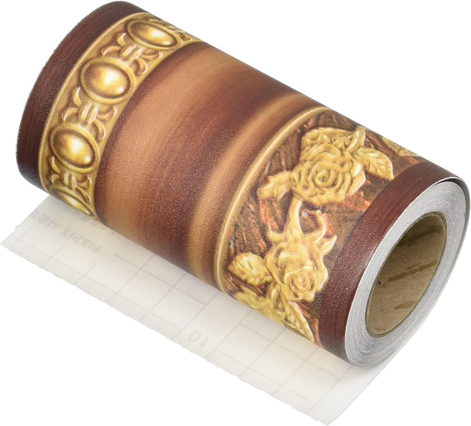 Flower Molding Peel and Stick Wall Border Easy to Apply (Brown)