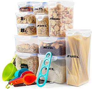 Plastic Food Storage Containers AIMIDA 14 PCS Food Storage Containers Set 5L/2.6qt/2.5oz/1L/0.8L/0.5L Kitchen Pantry Airtight Storage Containers for Foods Cereal,Flour,Baking Supplies with 4 Cups