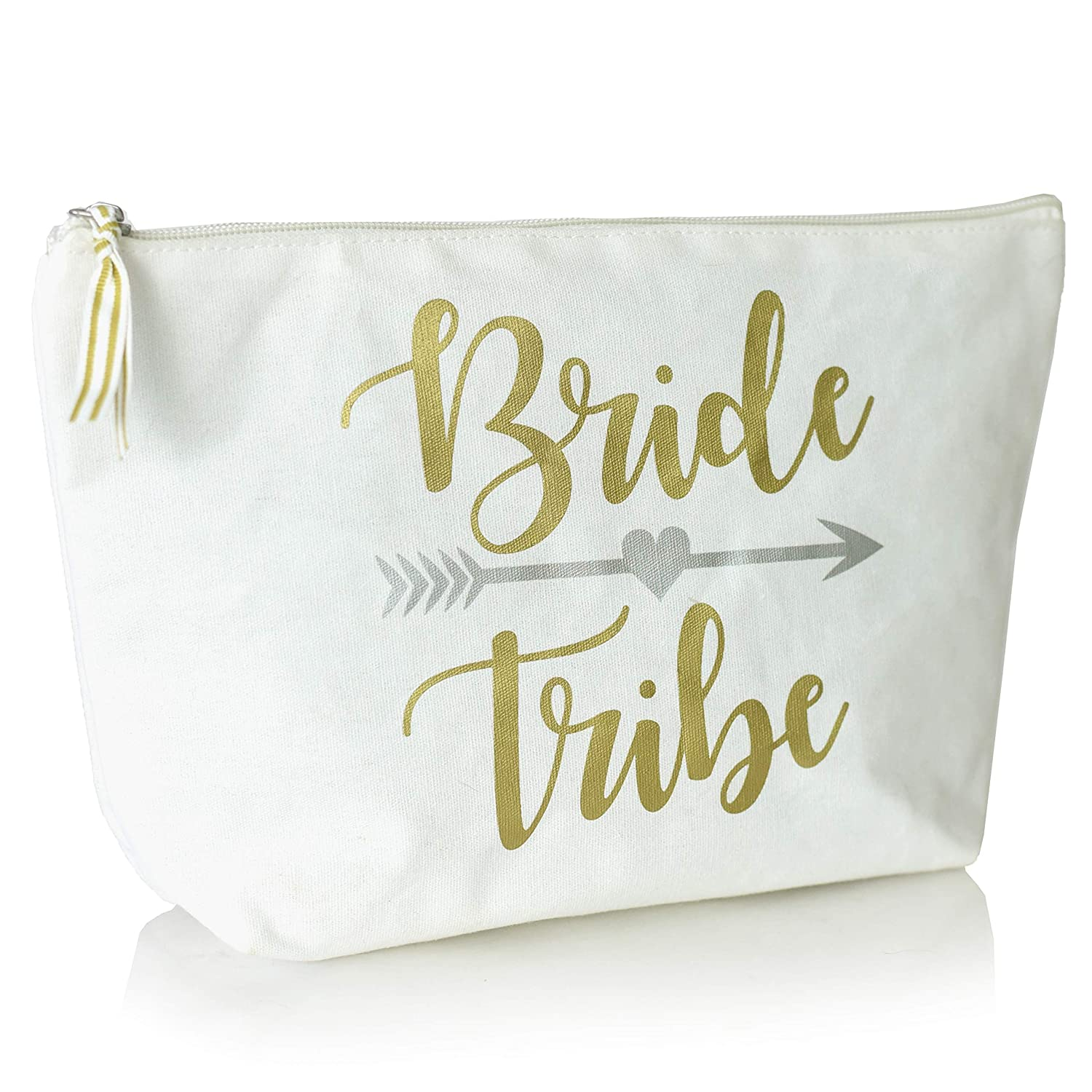 Cute Bridal Cosmetic Bag for Makeup Toiletry Travel- Large Portable Bride Tribe Pencil Pouch Dopp Kit- Case Handbag Organizer for Brushes and Accessories (White Bride Tribe in Gold Font Color)