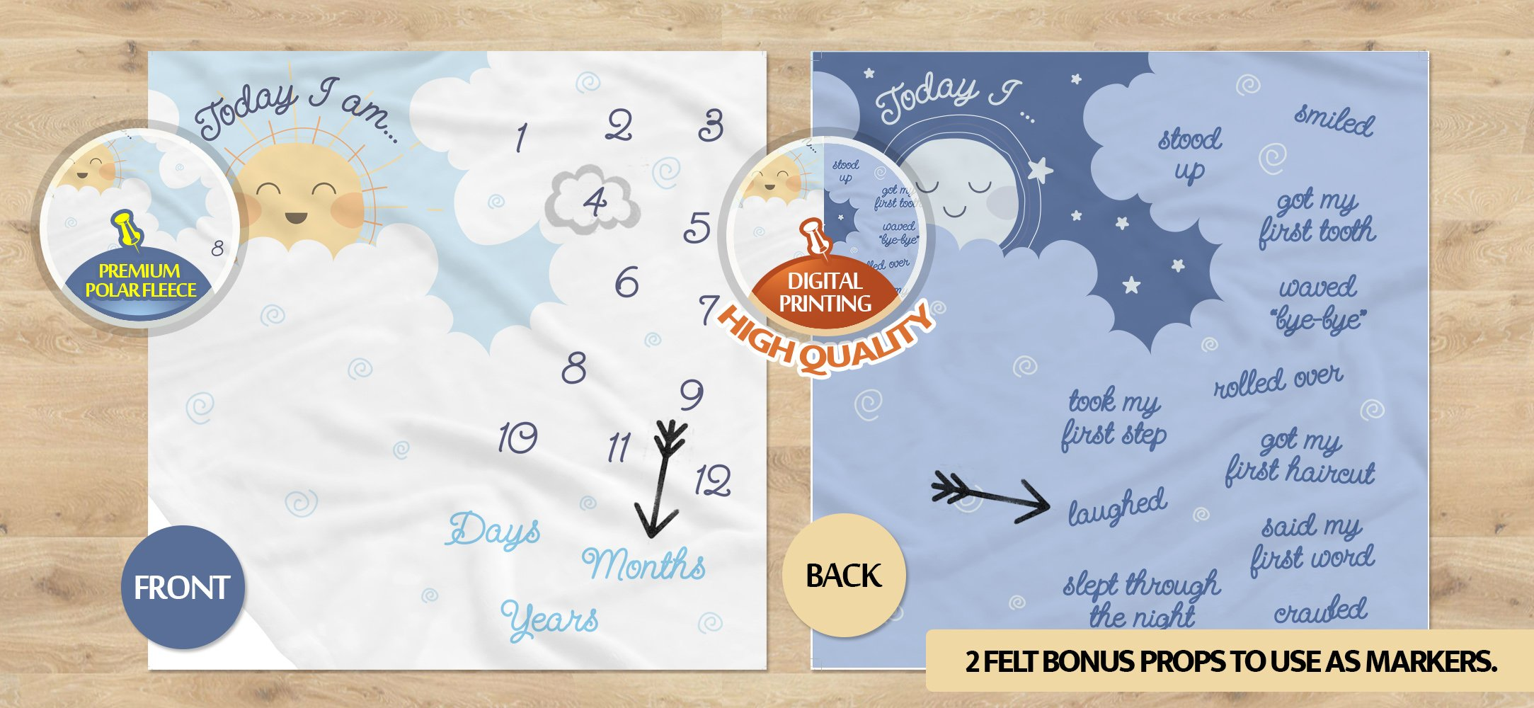 Double Sided Monthly Baby Milestone Blanket- Month Blanket for Baby Pictures | Photo Blanket with Baby Photo Props | Monthly Blankets for Newborns | Baby Boy and Girl Milestone Blanket by Scheuer Brand (Image #4)