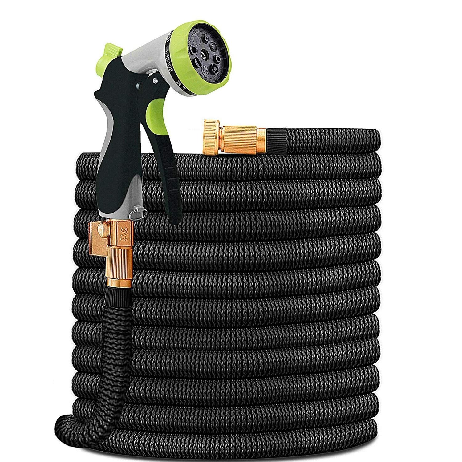 HYRIXDIRECT Garden Hose Lightweight Durable Flexible Water Hose with 3/4 Nozzle Solid Brass Connector and High Pressure Water Spray Nozzle Expanding Hoses (75 Ft)