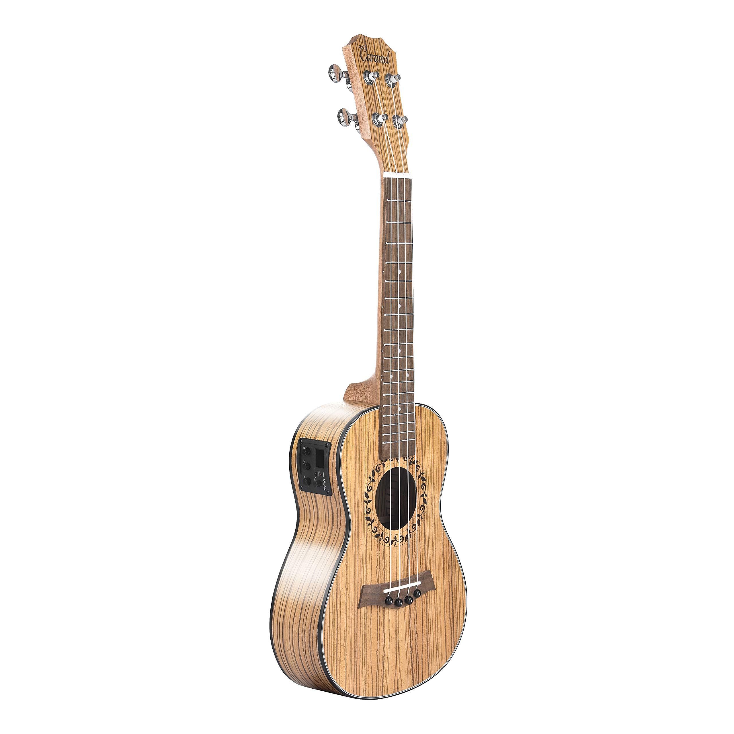 Caramel CC100 Zebra Wood Concert Acoustic Electric Ukulele