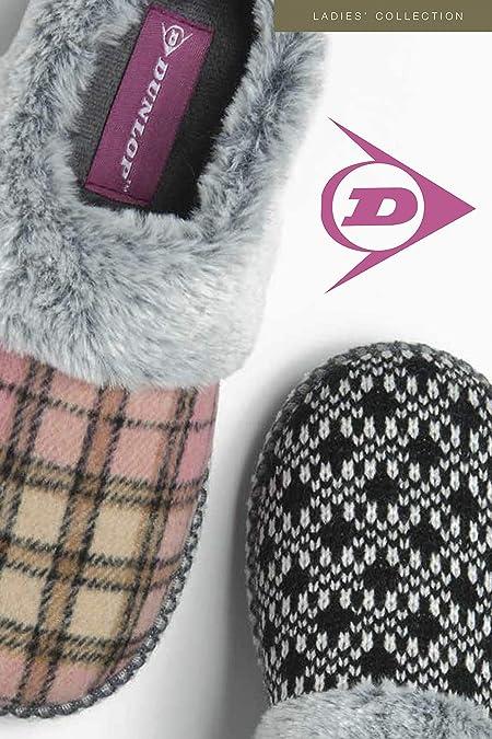 Femme Dunlop Doux /& Confortable Doublure En Fourrure Synthétique à Enfiler Mules Pantoufles Femmes Taille