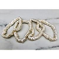 100% Pure Silk Skinny Scrunchies (White). Includes 4 Scrunchies.