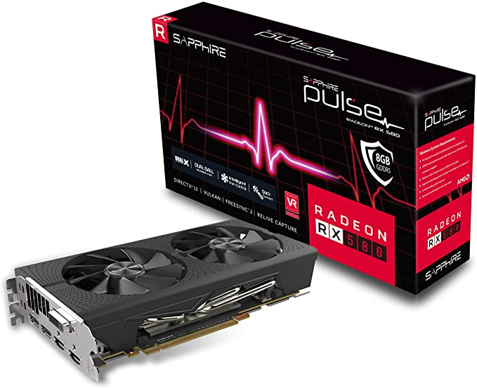 Sapphire Technology Technology Radeon 11265-05-20G Pulse RX 580 8GB GDDR5 Dual HDMI/ DVI-D/ Dual DP OC with Backplate (UEFI) PCI-E Graphics Card ...