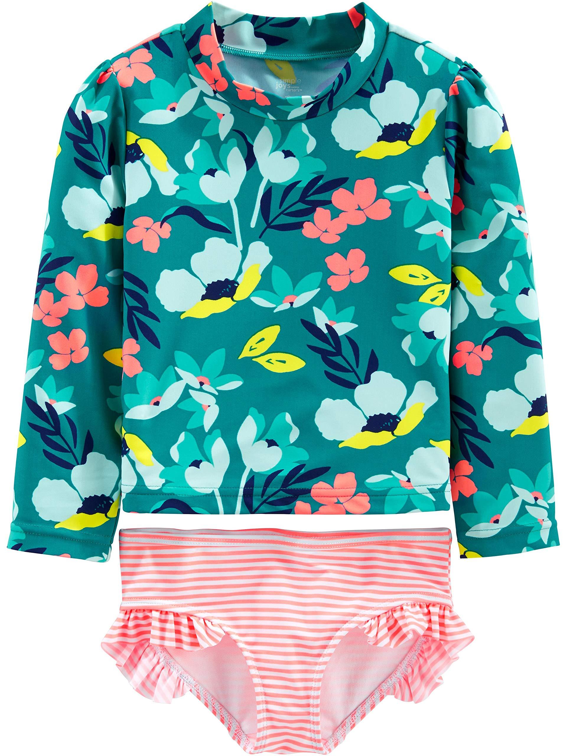 Simple Joys by Carter's Girls' Toddler 2-Piece Rashguard Set, Floral, 3T