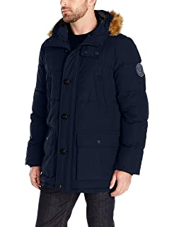 43b874db Tommy Hilfiger Men's Big and Tall Arctic Cloth Full Length Quilted Snorkel  Jacket